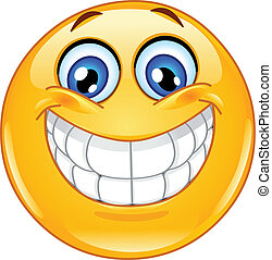 emoticon, stor leende