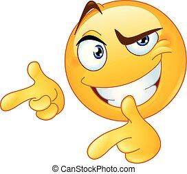emoticon, su, dita, indicare, pollici