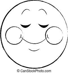 emoticon, tímido, bosquejo, charla, sonrisa