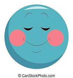 emoticon, tímido, charla, sonrisa
