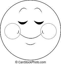 emoticon, tímido, negro, charla, sonrisa, blanco