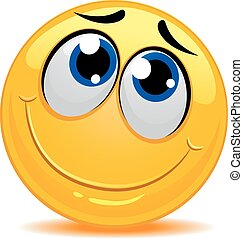 emoticon, tímido, sentimento, smiley