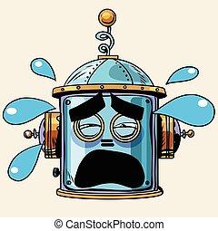 emoticon tears emoji robot head smiley emotion pop art retro style. Human emotions. Icon symbol. Technology and artificial intelligence