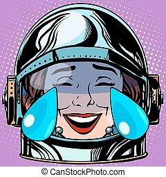 emoticon tears of joy Emoji face woman astronaut retro