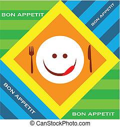 emoticon, tenedor, hambriento, cuchillo