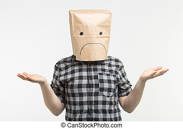 emoticon, testa, suo, infelice, triste, borsa, carta, fondo, fronte, bianco, uomo