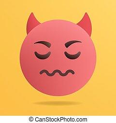 emoticon, teufel, illustration., vektor, rotes
