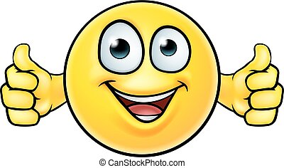 Emoticon Thumbs Up Icon - A cartoon emoticon icon looking...