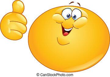 emoticon, tommelfinger, tyk, oppe