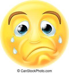 emoticon, triste, pleurer, emoji