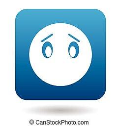 emoticon, triste, sans, bouche, icône