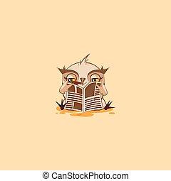 emoticon, ugle, mærkaten, cigar, avis, læsning