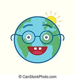 emoticon, värld glob, nerd, isolerat