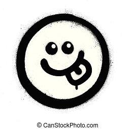 emoticon, vaporisé, sur, affamé, graffiti, noir, blanc