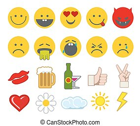Emoticon vector icons set with thumbs up, chat and heart other icon