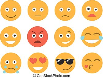 Emoticon vector illustration. Set emoticon face on a white background. Different emotions collection