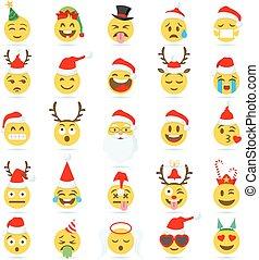 emoticon, vektor, karácsony, emoji