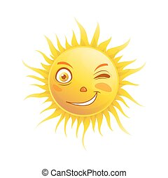 emoticon, verão, pestanejo, face sol, vetorial, sorrizo, emoji, caricatura, ícone