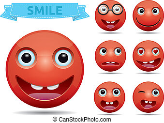 emoticon, vettore, smiley