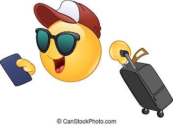 emoticon, viajero, aire