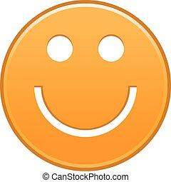 emoticon, visage smiley, gai, orange, sourire heureux