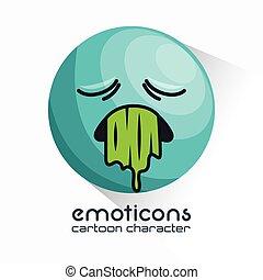 emoticon vomiting sad design