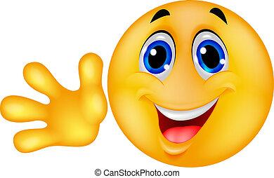 emoticon, waving, smiley, mão