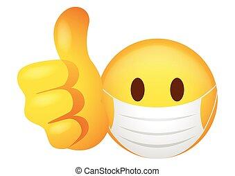 Emoticon wearing medical mask doing thumb up