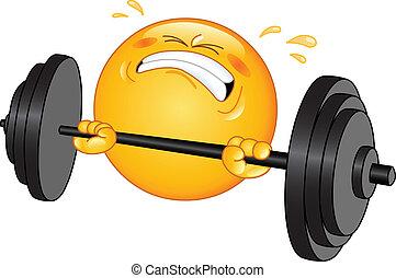 emoticon, weightlifter