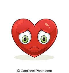Emoticon with big sad heart.