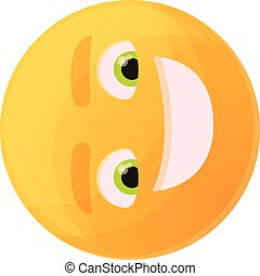 Emoticon with big smile icon, cartoon style
