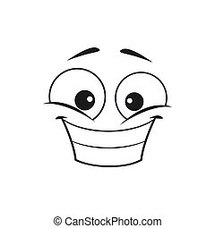 Smiling emoji with big toothy smile isolated icon. Vector grinning smiley showing teeth, happy face with broad smile. Smiling emoji with big eyes, social network speech element, chatbot avatar
