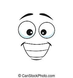 Smiling emoji with big toothy smile isolated icon. Vector grinning smiley showing teeth, happy face with broad smile. Emoji with big pop-eyes, social network speech element, chatbot friendly avatar