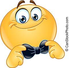 Emoticon with bow tie - Emoticon correcting or straightening...