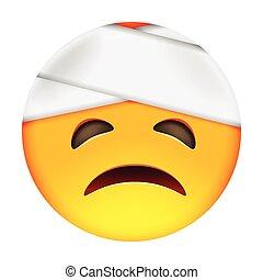 Emoticon with Damaged Bandaged Head