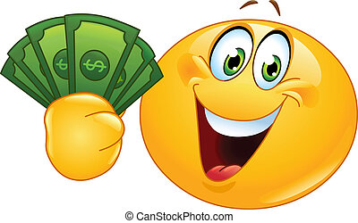 Emoticon with dollars - Happy emoticon holding dollar bills