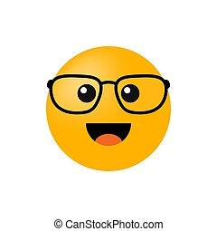 Emoticon with glasses isolated on white background. Vector illustration
