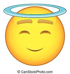 Emoticon with halo icon, cartoon style