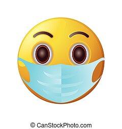 emoticon with medical mask on white background