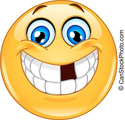 Emoticon with missing teeth - Smiling emoticon with missing ...