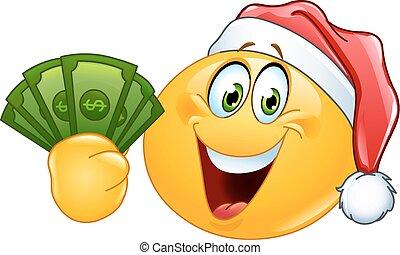 Emoticon with santa hat and dollars - Emoticon wearing Santa...