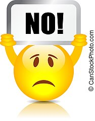 Emoticon with Say No placard