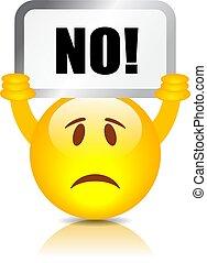 Emoticon with Say No placard