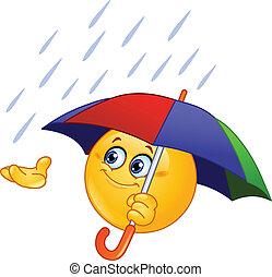 Emoticon holding an umbrella