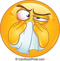 emoticon, wycierający nos