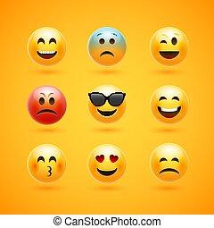 emoticon, wzruszenie, litera, twarz, wektor, uśmiech, icon., szczęśliwy, wyrażenie, rysunek, emoji