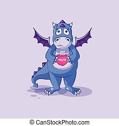 emoticon, xícara café, nervosa, adesivo, personagem, dragão, dinossauro, vetorial, caricatura, emoji