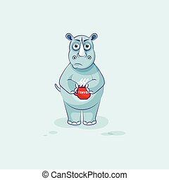 emoticon, xícara café, nervosa, adesivo, personagem, isolado, ilustração, rinoceronte, caricatura, emoji