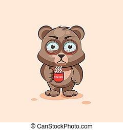 emoticon, xícara café, nervosa, adesivo, personagem, isolado, urso, caricatura, emoji