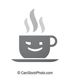 emoticon, xícara café, texto, isolado, rosto, piscadela, ícone